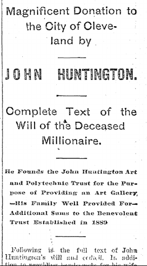 Magnificent Donation to the City of Cleveland by John Huntington, Plain Dealer newspaper article 4 February 1893