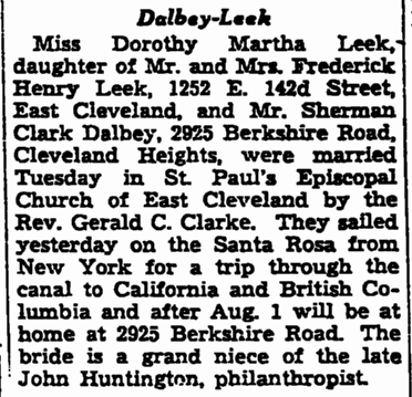 wedding announcement for Dorothy Leek and Sherman Dalbey, Plain Dealer newspaper article 6 June 1937