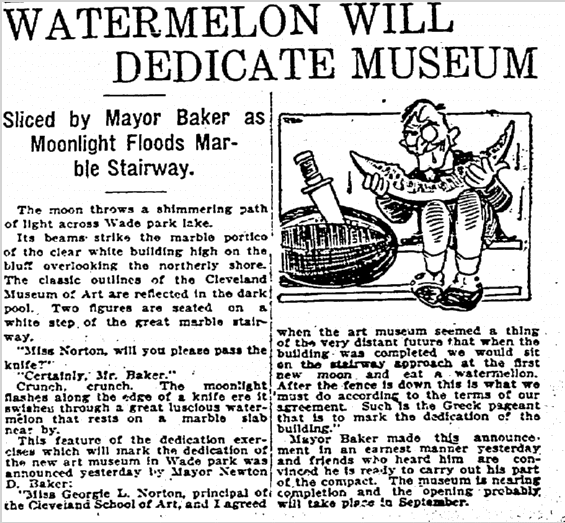 Watermelon Will Dedicate Museum, Plain Dealer newspaper article 27 June 1915