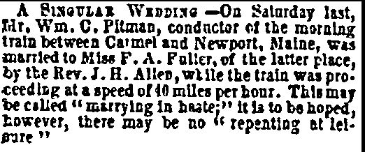 Pitman-Fuller wedding announcement, Public Ledger newspaper article 10 January 1857