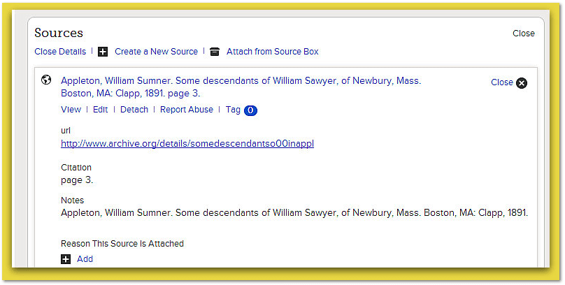 screenshot from FamilySearch: search for descendants of William Sawyer