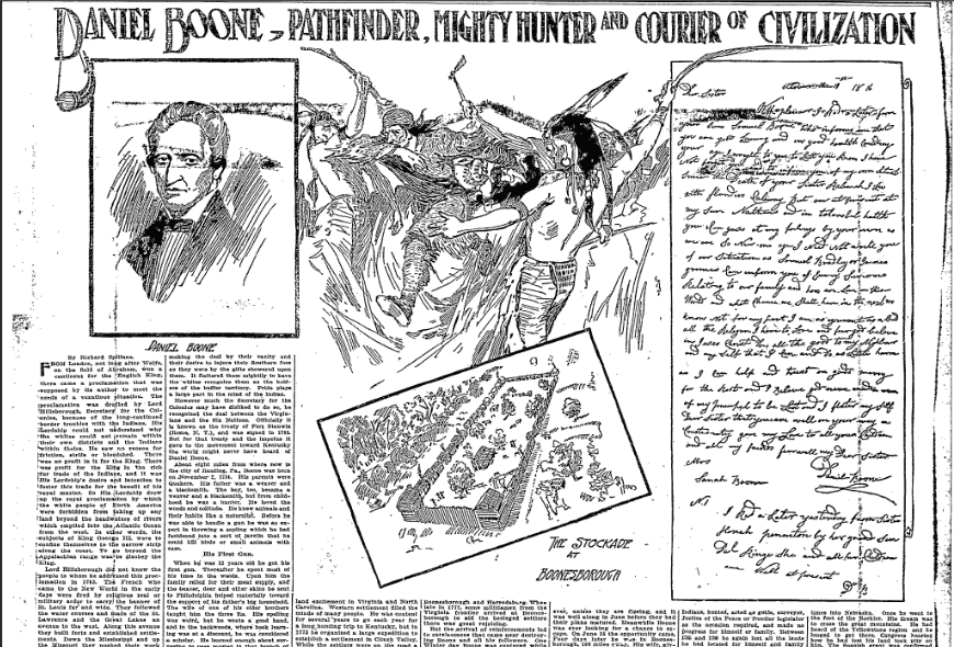 Daniel Boone: Pathfinder, Mighty Hunter and Courier of Civilization, Oregonian newspaper article 17 April 1910
