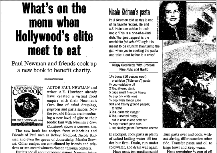 What's on the Menu When Hollywood's Elite Meet to Eat, Aberdeen Daily News newspaper article 8 November 1998