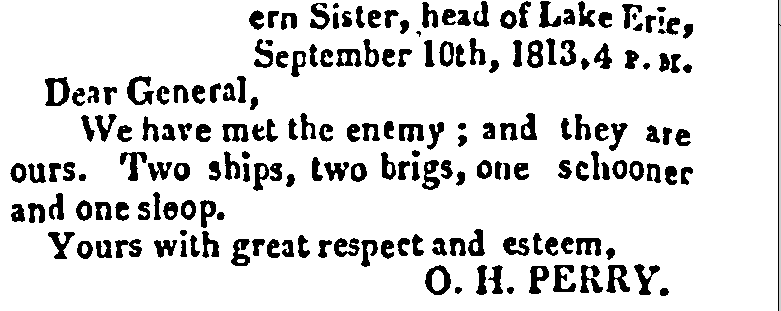 article about the U.S. winning the Battle of Lake Erie over the British during the War of 1812, American and Commercial Daily Advertiser newspaper 23 September 1813