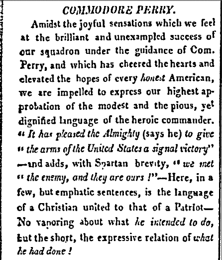 Commodore Perry, American and Commercial Daily Advertiser newspaper article 25 September 1813