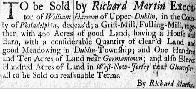 estate sale ad for William Harmon, American Weekly Mercury newspaper advertisement 30 March-6 April 1732