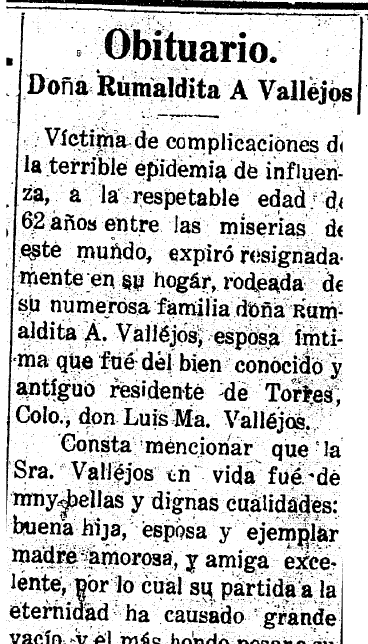 obituary for Dona Rumaldita A Vallejos, Anunciador newspaper article 14 December 1918