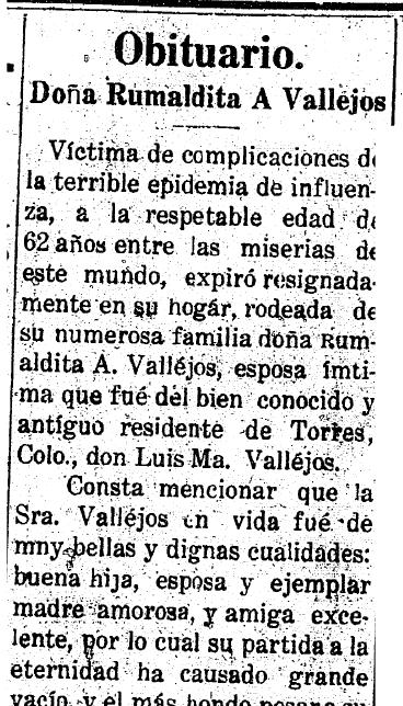 Rumaldita a vallejos anunciador newspaper article 14 december 1918