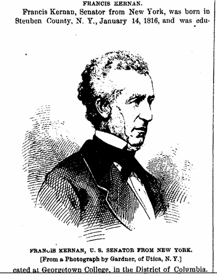 illustration of New York Senator Francis Kernan, Daily Graphic newspaper article 23 February 1875