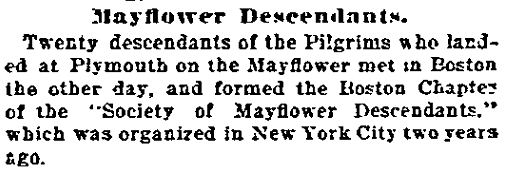 Mayflower Descendants, Daily Inter Ocean newspaper article 14 April 1896