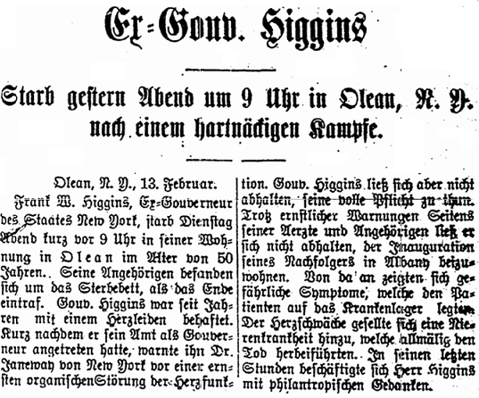 obituary for Frank Higgins, Erie Tageblatt newspaper article 13 February 1907