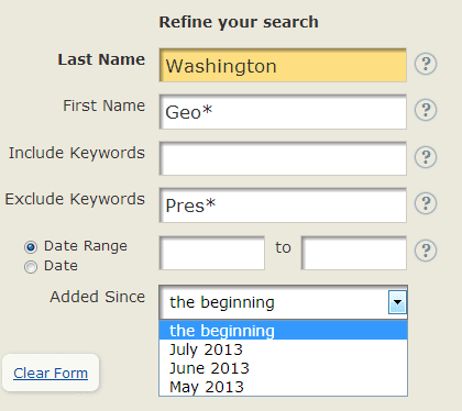 screenshot of GenealogyBank's search box looking for George Washington