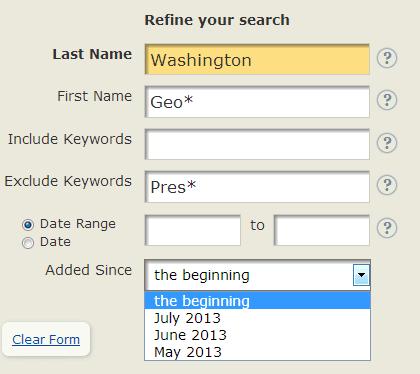 screenshot of GenealogyBank's search box looking for George Washington