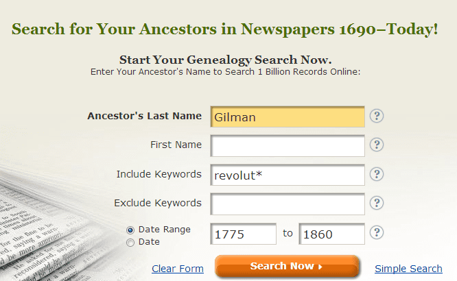 screenshot of GenealogyBank's search box looking for Gilman