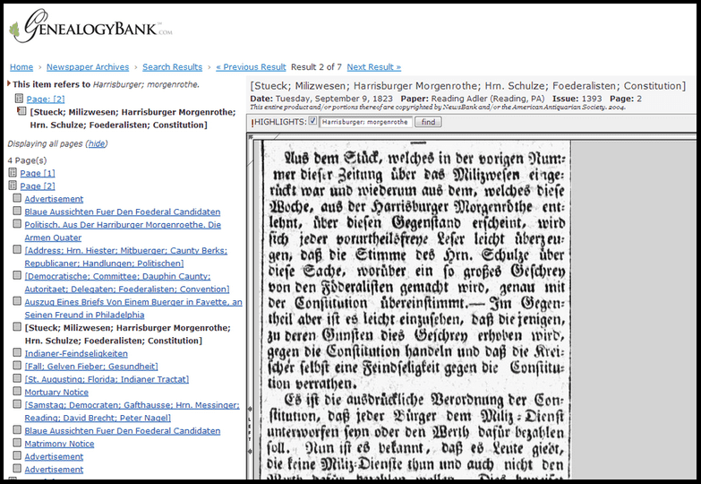 screenshot of GenealogyBank showing an article from a German American newspaper