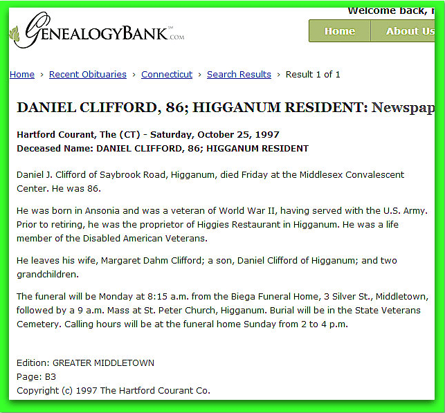 obituary for Daniel Clifford, Hartford Courant newspaper article 25 October 1997
