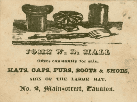 Advertising card from 1840 for John W. D. Hall hat maker