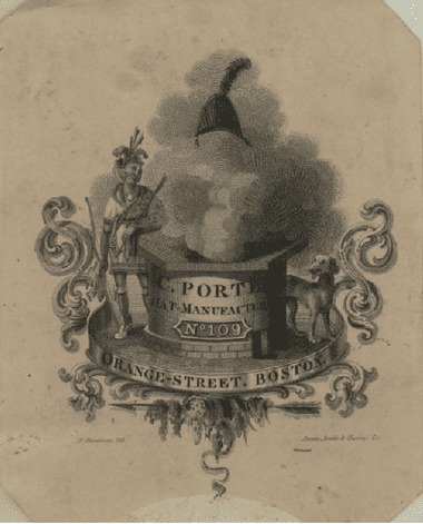 Advertising card from 1830 for C. C. Porter Hat Manufacturing Company