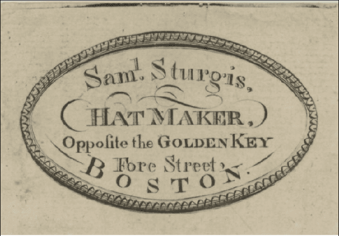 Advertising card from 1790 for Sam Sturgis, hat maker