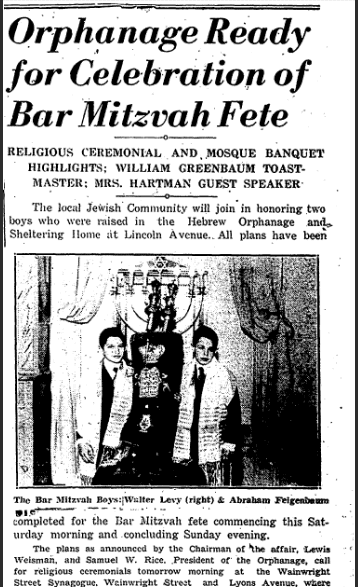 Orphanage Ready for Celebration of Bar Mitzvah Fete, Jewish Chronicle newspaper article 10 January 1941