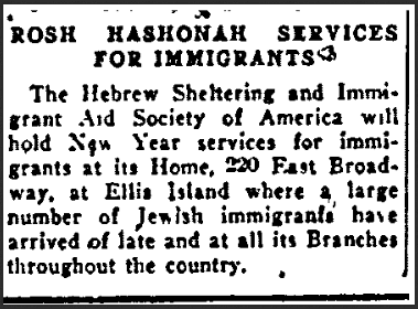 Rosh Hashanah Services for Immigrants, Jewish Daily News newspaper article 2 September 1920