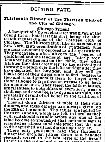 Defying Fate: Thirteenth Dinner of the Thirteen Club of the City of Chicago, Kansas City Star newspaper article 15 May 1885
