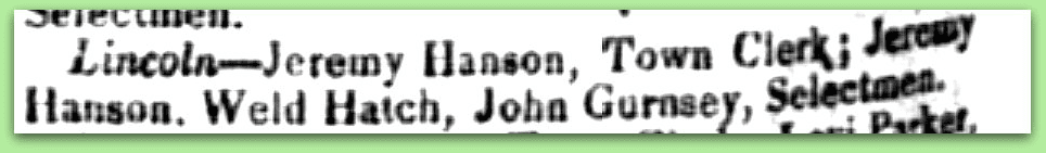notice about Jeremy Hanson, the town clerk in Lincoln, New Hampshire, New Hampshire Patriot newspaper article 21 April 1842