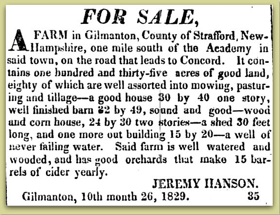 real estate ad for the farm of Jeremy Hanson, New Hampshire Patriot newspaper advertisement 9 November 1829