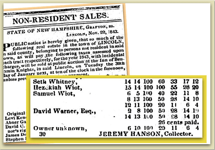 notice mentioning Jeremy Hanson as a tax collector in New Hampshire, New Hampshire Patriot newspaper article 21 December 1843