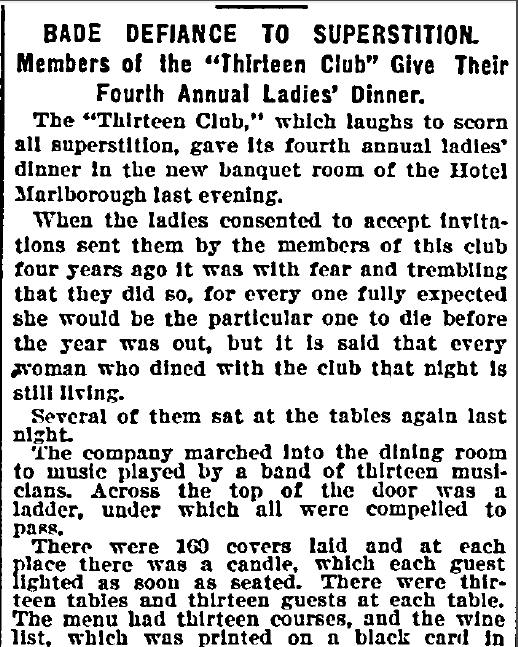 "Bade Defiance to Superstition: Members of the ""Thirteen Club"" Give Their Fourth Annual Ladies' Dinner, New York Herald newspaper article 14 April 1894"