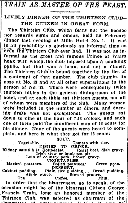 Train as Master of the Feast: Lively Dinner of the Thirteen Club, New York Tribune newspaper article 14 February 1898