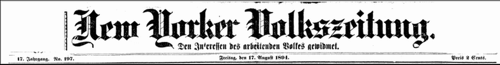 masthead for the German American newspaper New Yorker Volkszeitung 17 August 1804