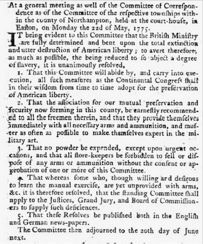 notice about a meeting of the Committee of Correspondence, Pennsylvania Evening Post newspaper article 10 June 1775