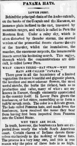 Panama Hats, Philadelphia Inquirer newspaper article 16 October 1860