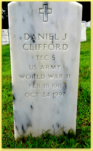 photo of the front of Daniel Clifford's tombstone