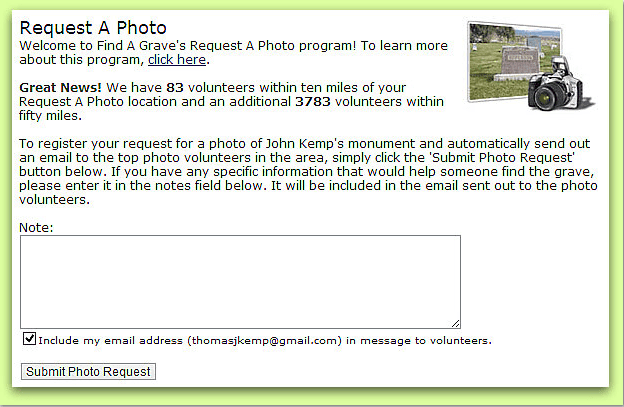 "screenshot of the ""Request A Photo"" page from the website Find-A-Grave"