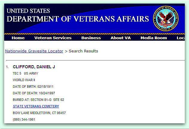 screenshot of record for Daniel Clifford from website Nationwide Gravesite Locator