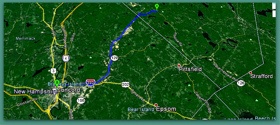 screenshot of Google Maps showing the area around Concord, New Hampshire