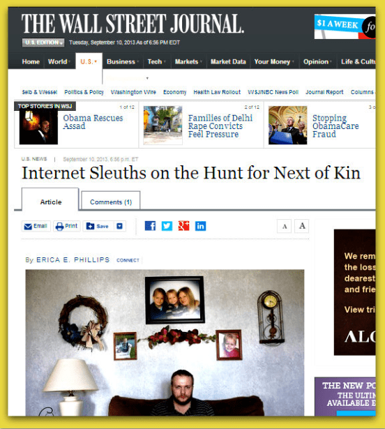 Internet Sleuths on the Hunt for Next of Kin, Credit: Wall Street Journal newspaper article 10 September 2013