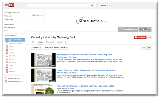 screenshot of GenealogyBank genealogy tutorial videos on YouTube