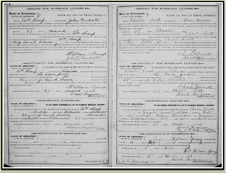 photo of the online index for Arkansas County Marriages, 1837-1957, provided by FamilySearch.org