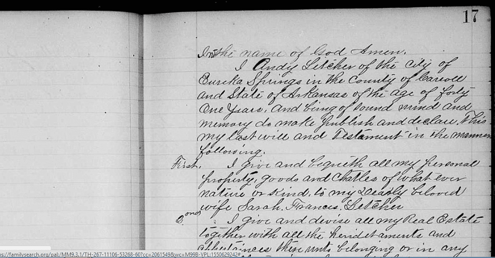photo of Arkansas Probate Records, 1817-1979, from FamilySearch.org