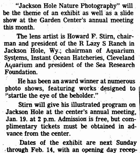 Jackson Hole Nature Photography, Plain Dealer newspaper article 10 January 1982