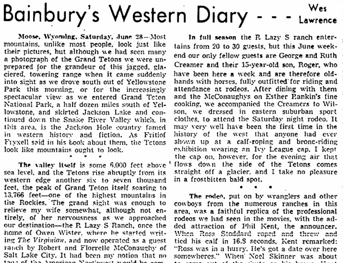 Bainbury's Western Diary, Plain Dealer newspaper article 8 July 1958