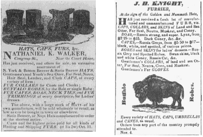 ads for hats, Portsmouth Journal of Literature and Politics newspaper advertisements 22 November 1834