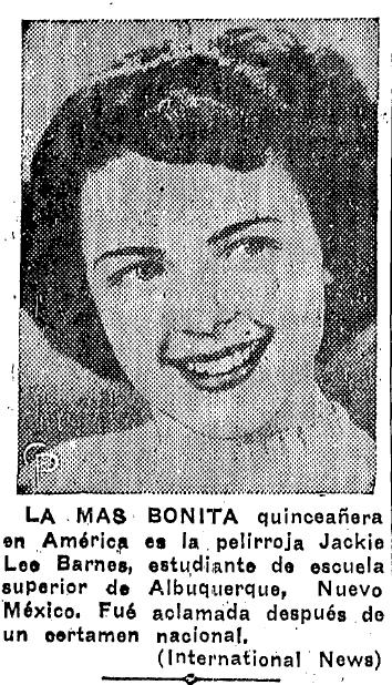 notice about Jackie Lee Barnes, Prensa newspaper article 8 January 1950