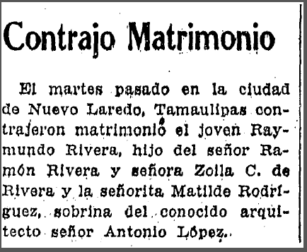 marriage announcement for Raymundo Rivera and Matilde Rodriguez, Prensa newspaper article 22 April 1951