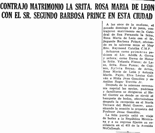 Rose Maria de Leon & Segundo Barbosa Prince marriage announcement, Prensa newspaper article 19 June 1958