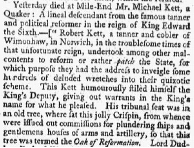Michael Kett obituary, Providence Gazette newspaper article 27 March 1784