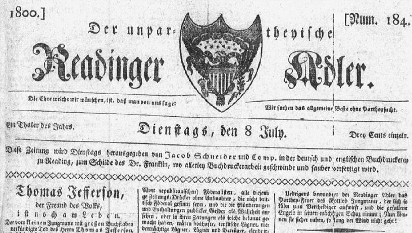 masthead for the German American newspaper Readinger Adler 8 July 1800
